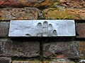 Symbolical handprints of postmans on the wall, where SS arrested defenders of the Polish Post Office in Gdańsk - 1.jpg