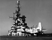 T-28C after landing on USS Tarawa (CVA-40) 1955