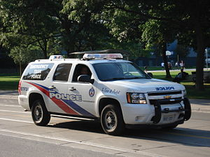 Police vehicles in the United States and Canada - A Chevrolet Suburban in service with the Toronto Police Service Emergency Task Force, 2008.