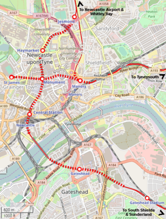 North Tyneside Loop - As part of the Tyne and Wear Metro, the southern leg of the loop was diverted underground to a new terminus at St James, intersecting with the northern leg at Monument Metro station.