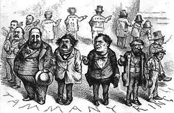 A cartoon showing a circle of men pointing their fingers at the man to their right with grimaces on their faces.
