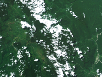 Star Mountains - The Star Mountains, from space. Telefomin and Tabubil can be seen clearly in this image.