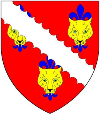 Arms of Tenison: Gules, three leopard's faces or jessant de lys azure overall a bend engrailed argent. A difference of these arms was borne by Tennyson, the family of Alfred, Lord Tennyson (1809-1892) (Baron Tennyson), the poet TenisonArms.png