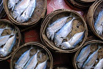 Short mackerel - Steamed and salted pla thu sold at Thanin market in Chiang Mai, Thailand
