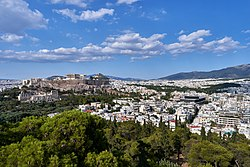 The Acropolis and Mount Hymettus from Philopappos Hill on July 18, 2019.jpg