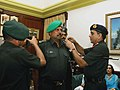 The Army Chief General Deepak Kapoor pinning the rank of Lieutenant Colonel on the shoulders of ace cricketer Kapil Dev as he voluntarily joined the Territorial Army during a ceremony in New Delhi on September 24, 2008.jpg