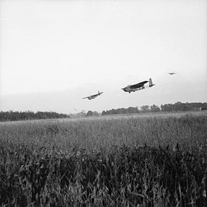 Light Tank Mk VII Tetrarch - Hamilcar gliders of 6th Airlanding Brigade arrive on Drop Zone 'N' carrying Tetrarch tanks, 6 June 1944.