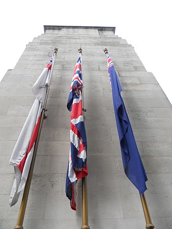 The White Ensign, Union Flag, and Blue Ensign on the Cenotaph. The Cenotaph, Whitehall, London (14 July 2011) 4.jpg