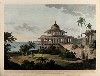 Allahabad Fort - The Chalees Satoon, in the Fort of Allahabad, on the River Jumna (1796) - painted by Thomas Daniell