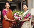 The Chief Minister of Gujarat, Smt. Anandiben Patel meeting the Minister of State for Commerce & Industry (Independent Charge), Finance and Corporate Affairs, Smt. Nirmala Sitharaman, in New Delhi on June 10, 2014.jpg