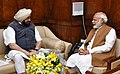 The Chief Minister of Punjab, Captain Amarinder Singh calling on the Prime Minister, Shri Narendra Modi, in New Delhi on March 22, 2017 (1).jpg