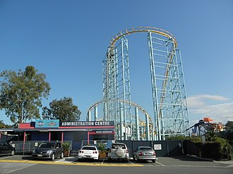 Hot Wheels SideWinder - A view of the roller coaster from the Dreamworld and WhiteWater World administration office.