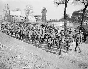 154th Infantry Brigade (United Kingdom) - Battle of St. Quentin. No. 8 Platoon, B Company of the 1/7th Battalion, Argyll and Sutherland Highlanders retiring along the Cambrin road near Beaumetz.