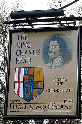 """Hall & Woodhouse - """"The King Charles Head"""" pub sign in Goring Heath (2009)"""