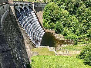 Nepaug River - The Nepaug Dam allows water to flow out of the Nepaug Reservoir.
