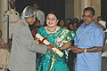The President, Dr. A.P.J. Abdul Kalam presenting the Padma Shri Award – 2006 to visually challenged music prodigy Smt. Gayatri Sankaran, in New Delhi on March 20, 2006.jpg