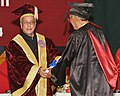The President, Shri Pranab Mukherjee conferring the Doctor of Law to Shri Rishang Keishing on the occasion of the 14th Convocation of Manipur University, at Canchipur, in Imphal, Manipur on April 29, 2014.jpg