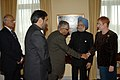The Prime Minister, Dr. Manmohan Singh introducing members his delegation to the President of Republic of Finland, Ms. Tarja Halonen in Helsinki, Finland on October 13, 2006.jpg