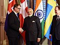 The Prime Minister, Shri Narendra Modi, the Prime Minister of Sweden, Mr. Stefan Lofven and the Prime Minister of Finland, Mr. Juha Sipila at India-Nordic Summit, in Stockholm, Sweden on April 17, 2018.JPG