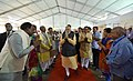 The Prime Minister, Shri Narendra Modi being welcomed at Ex Servicemen Public Meeting, in Bhopal, Madhya Pradesh on October 14, 2016. The Chief Minister of Madhya Pradesh, Shri Shivraj Singh Chouhan is also seen (1).jpg