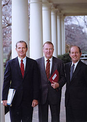 """""""The Troika"""" (from left to right) Chief of Staff James Baker, Counsellor to the President Ed Meese, Deputy Chief of Staff Michael Deaver at the White House. 12/2/81."""