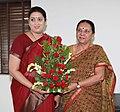 The Union Minister for Human Resource Development, Smt. Smriti Zubin Irani meeting the Chief Minister of Gujarat, Smt. Anandiben Patel, at Gandhinagar, in Gujarat on June 13, 2014.jpg