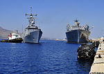 The guided missile frigate USS DeWert (FFG 45), center left, arrives in Souda Bay, Greece, July 31, 2013 130731-N-MO201-029.jpg