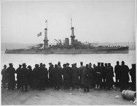 The leader Arizona passing 96th Street Pier in great naval review at New York City. - NARA - 533700.tif