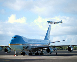SAM 28000 sits on the ramp as Air Force One (SAM 29000 in the background) descends on final approach into Hickam Field in Honolulu, Hawaii with President George W. Bush aboard. The two Boeing VC-25A Air Force One.jpg