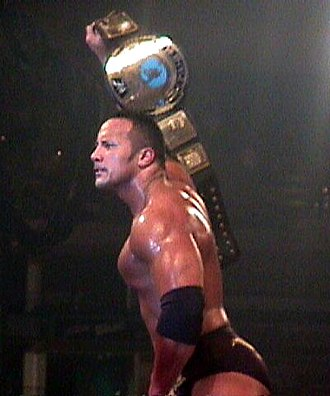 Dwayne Johnson - The Rock as the WWF Champion in 2000