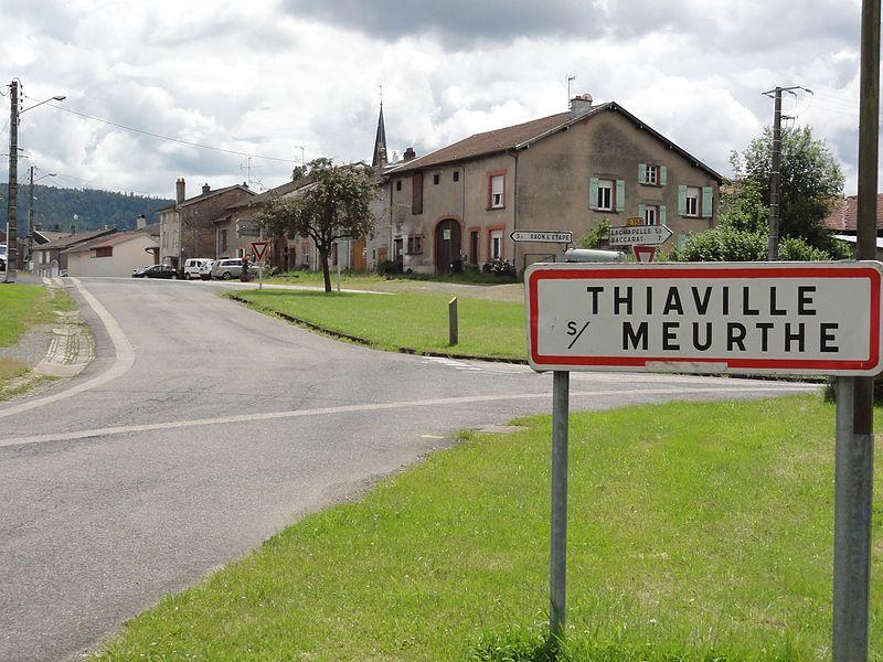 Thiaville-sur-Meurthe (M-et-M) city limit sign