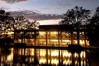 University of South Carolina Library -  View of the Thomas Cooper Library at dusk.