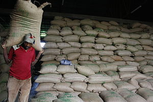 Gunny sack - Thousands of bags of coffee beans are stored in this warehouse.