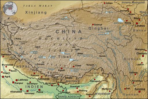 Tibet Karte Topograpisch