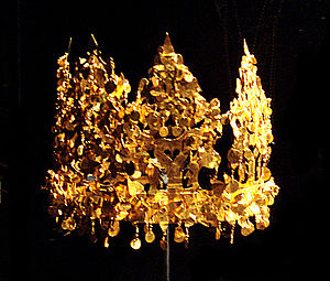 Crowns of Silla - This crown was excavated from Grave Six in Tillia Tepe, Afghanistan and is estimated to be from the first or second century.  The style of the crown strongly suggests a Scytho-Iranian connection with Korea.