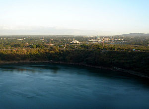 Protected areas of Nicaragua - Vista of Tiscapa Lagoon and the capital city, Managua