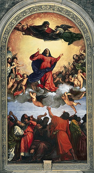 Titian - Assumption of the Virgin, 1516–1518; it took Titian more than two years to complete this mural in the 'Frari' church in Venice. Its dynamic three-tier composition and colour scheme established him as the preeminent painter north of Rome.