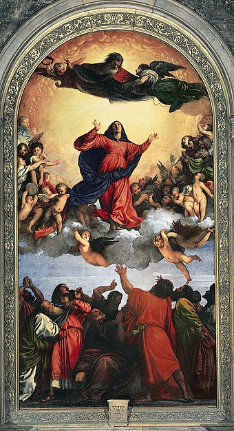 On 1 November 1950, Pius XII defined the dogma of the Assumption (Titian's Assunta (1516-1518) pictured). Tizian 041.jpg