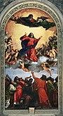 Tizians tolkning av jungfru Marie himmelsfärd, Sta. Maria Gloriosa die Fari i Venedig.