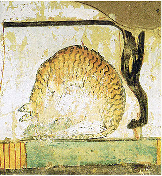 Cat - A cat sitting under a chair, a mural in an Egyptian tomb dating to the 15th century BC