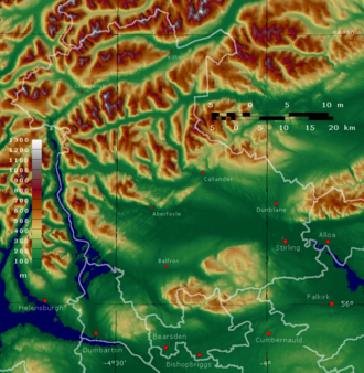 Stirling (council area) - Topographic map of Stirling and East and West Dunbartonshire