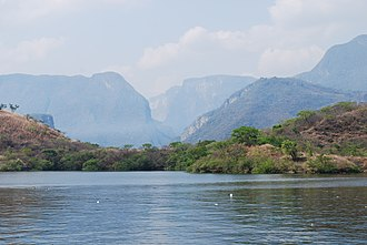 Sumidero Canyon - Looking south towards the Sumidero Canyon from the reservoir of the Chicoasén Dam
