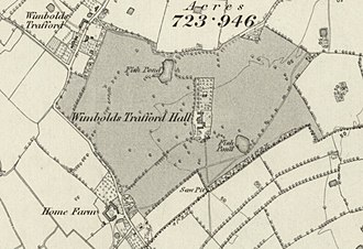 Trafford Hall - Map of Trafford Hall in 1871.