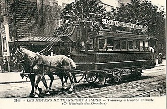 Trams in France - An old horse tram in Paris