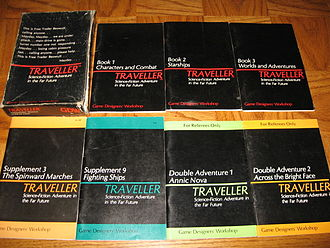 Traveller (role-playing game) - A selection of classic Traveller rule books and supplements, including the core box set..