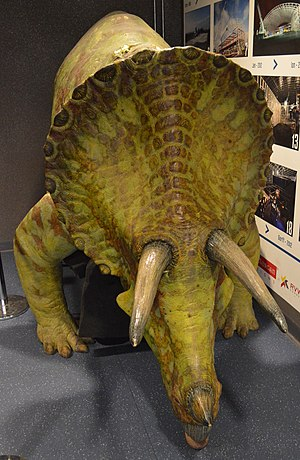 Dinosaurs on a Spaceship - The Tricerotops prop, on display at the Doctor Who Experience.