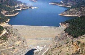 California State Route 3 - Trinity Dam in Trinity Lake north of Lewiston