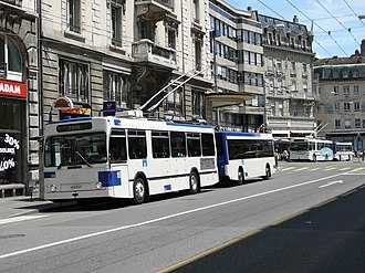 Trolleybuses in Lausanne - An NAW trolleybus and trailer in Lausanne.