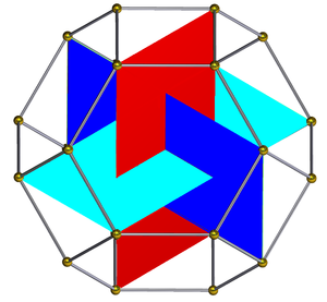 Icosahedron - Construction from the vertices of a truncated octahedron, showing internal rectangles.