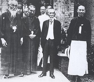 Tōyama Mitsuru - Tōyama (left) with his friends, future Prime Minister Tsuyoshi Inukai (center), future President of Republic of China Chiang Kai-shek (right) and others in 1929
